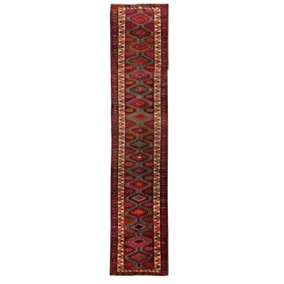 Jewel Tone Hand-Knotted Long Vintage Turkish Carpet Runner | 2'9 X 14'4 For Sale