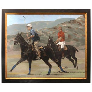 """1950s Vintage Jack Martin Smith """"Polo Players & Ponies"""" Oil on Panel Painting For Sale"""