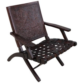 1940s Spanish Leather Folding Lounge Chair For Sale