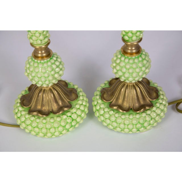 Modern Mid Century Green Hobnail Ceramic and Brass Lamps - a Pair For Sale - Image 3 of 9