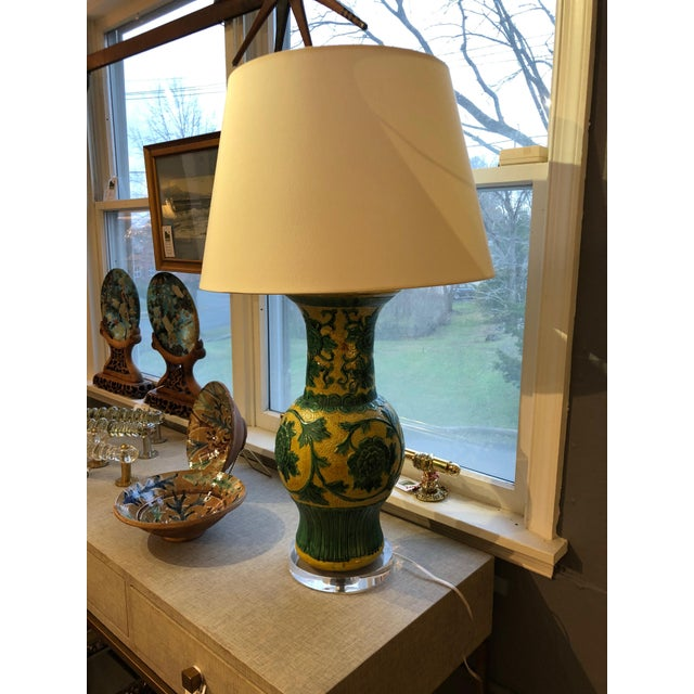 Striking Large Yellow and Green Chinese Vase Shaped Lamp For Sale - Image 4 of 6