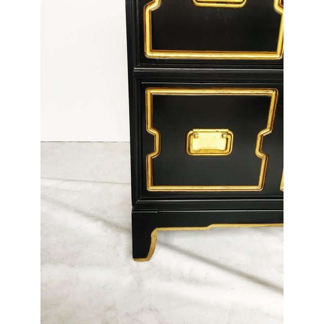 Black Vintage Black and Gold Dorothy Draper Style Chest For Sale - Image 8 of 11