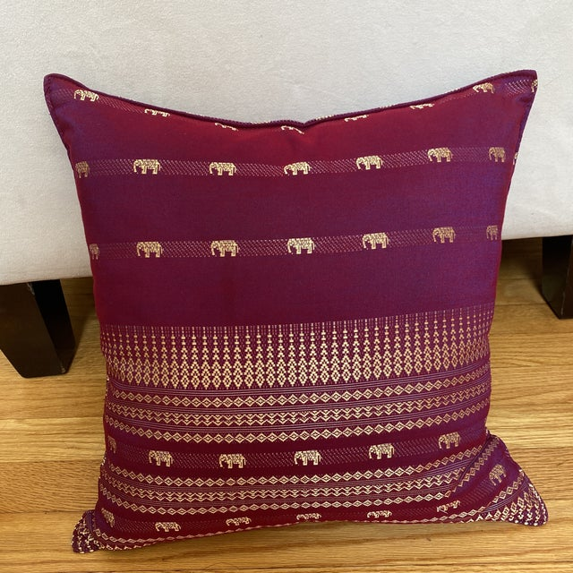 Burgundy Magenta Thai Silk Pillow With Elephant Motifs For Sale - Image 8 of 12