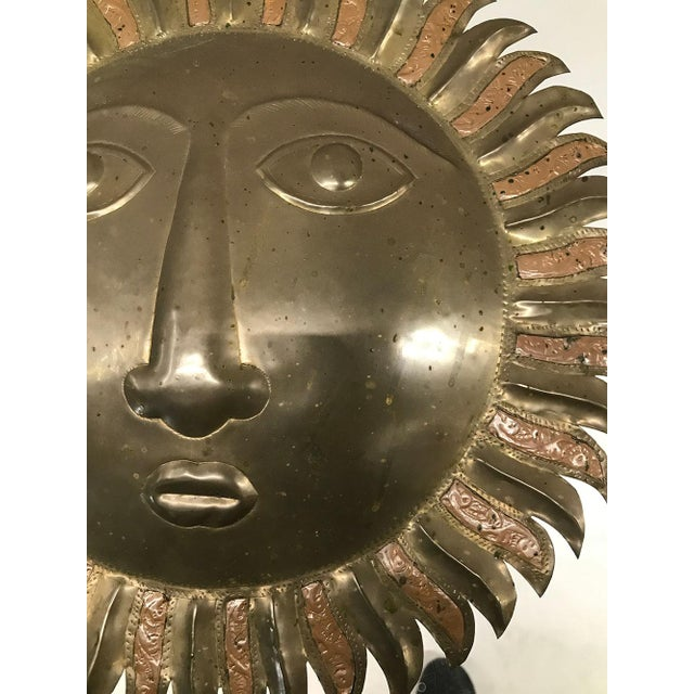 Sergio Bustamante-Style Brass and Copper Sun Wall Sculpture, 1970s For Sale In Atlanta - Image 6 of 9