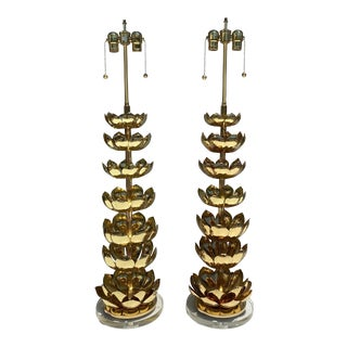 Hollywood Regency Style Brass Lotus Lamps - a Pair For Sale