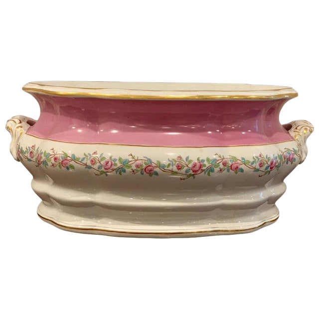 19th Century Pink Floral Porcelain Foot Bath, Attributed to Mintons For Sale