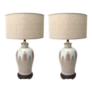 1970s Japanese Mid-Century Modern Hand Painted Porcelain Lamps - a Pair For Sale