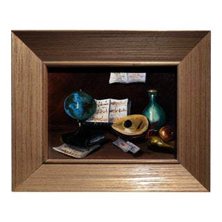 20th Century Gold Cerused Wood Framed Cryptically Composed Still Life Oil Painting on Board For Sale