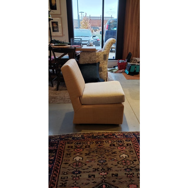 American Slipper Chair in Madagascar Cloth For Sale - Image 3 of 5