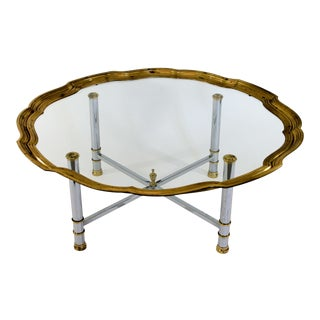 Coffee Table W/ Scalloped Brass Edge For Sale