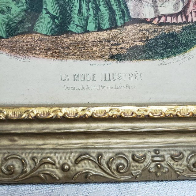 Pair vintage antique wood frame Paris France fashion advertisement models pose hand colored engraving Nice set of vintage...