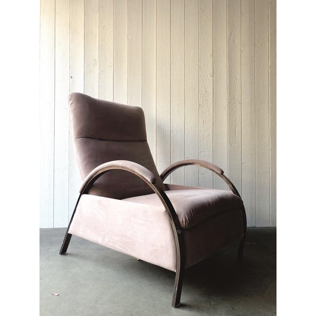 Reclining pink microfiber and rose gold colored chrome lounge chair designed by George Mulhauser for the Design Institute...