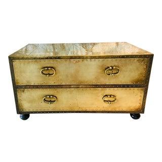 Vintage Hollywood Regency Sarreid Brass Table Chest For Sale