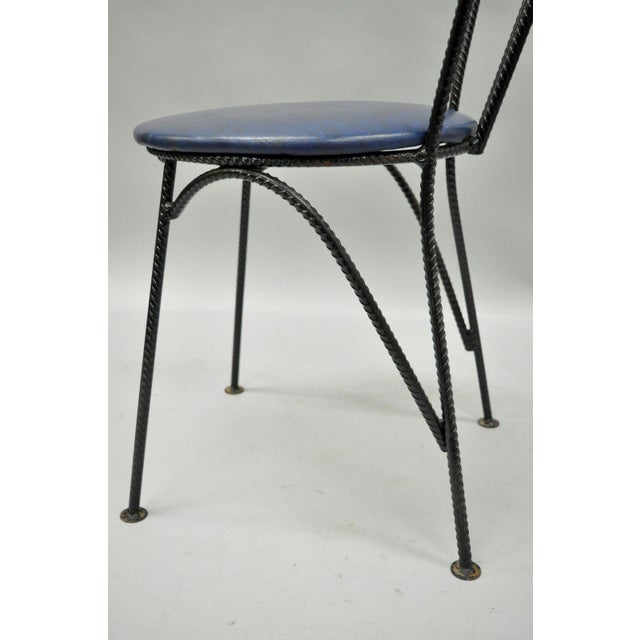 4 Vintage Mid Century Modern Brutalist Iron Rebar Dining Chairs Industrial Steampunk For Sale - Image 5 of 11