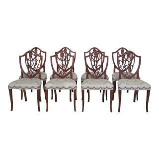 1990s Vintage Hickory Chair Co. Mahogany Shield Back Dining Chairs - Set of 8 For Sale