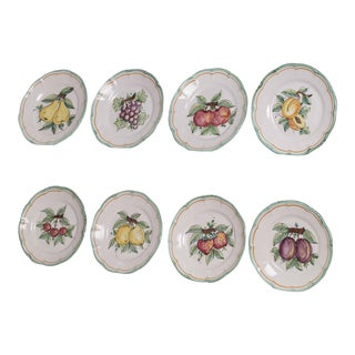 Set Eight Italian Hand Painted Dinner Plates, Vietri