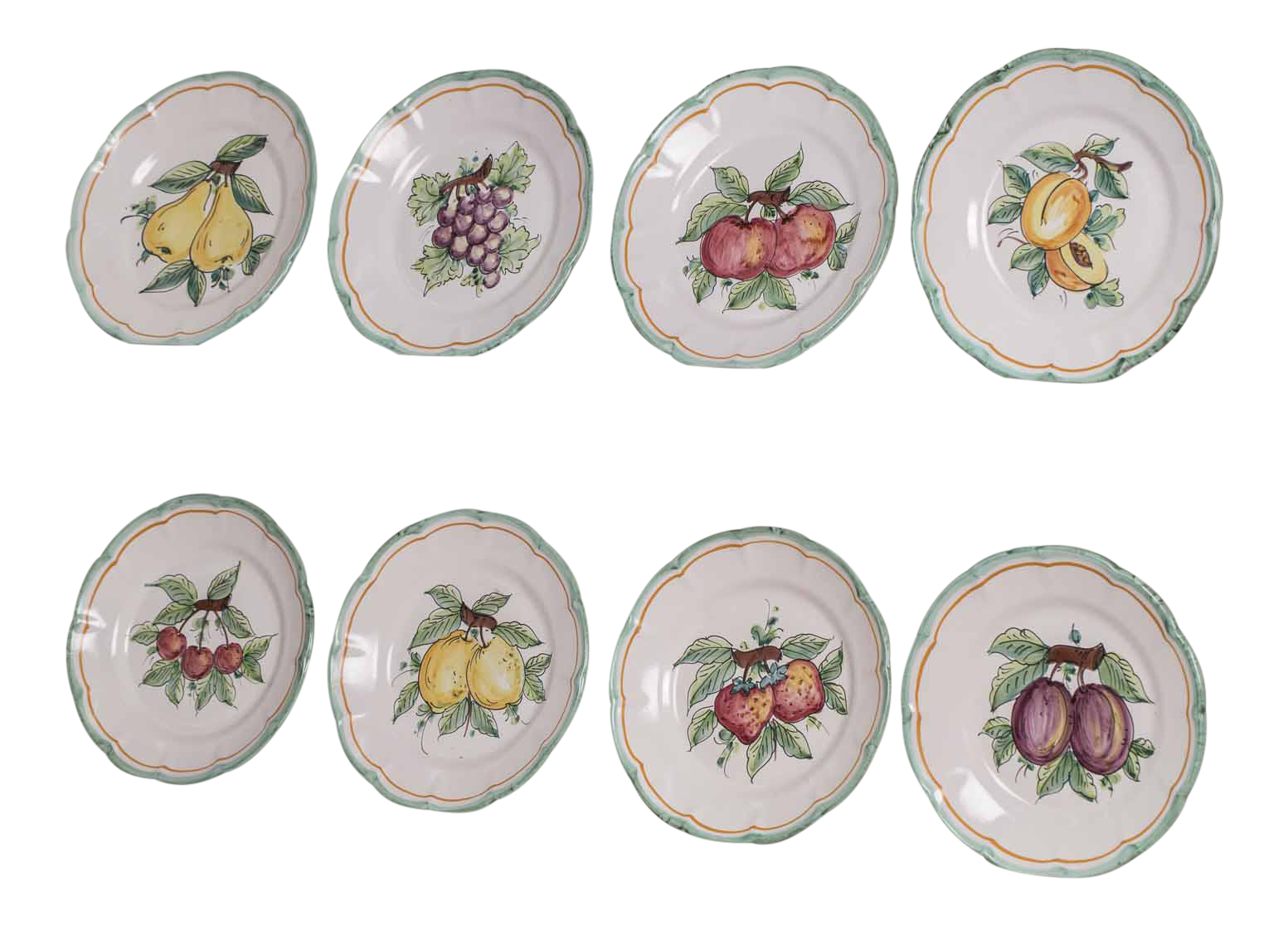 Set Eight Italian Hand Painted Dinner Plates Vietri - Image 1 of 11  sc 1 st  Decaso : italian dinner plates ceramic - pezcame.com