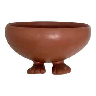 Vintage Terracotta Human Footed Decorative Bowl For Sale