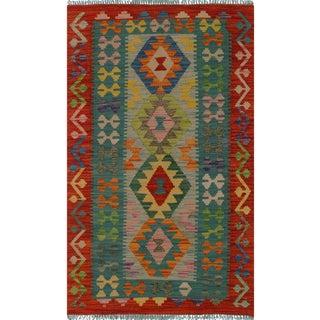 Contemporary Kilim Arya Clement Rust/Gray Wool Rug (2'7 X 4'1)