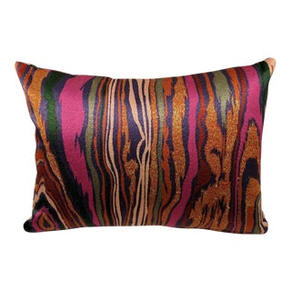 Faux Bois Multi-Color Accent Lumbar Pillow For Sale