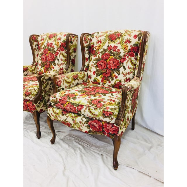 Vintage Floral Chintz Armchairs - A Pair For Sale - Image 5 of 11