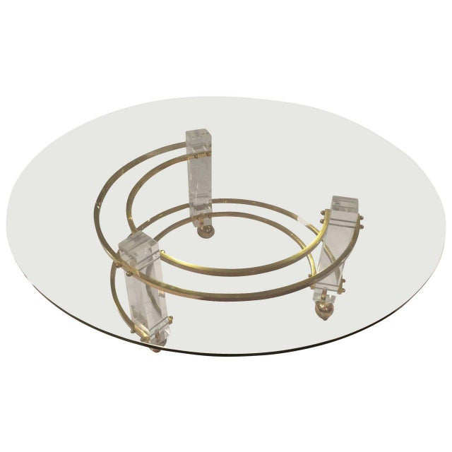 Charles Hollis Jones Hollywood Regency Lucite & Brass Coffee Table For Sale