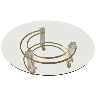 Hollywood Regency Lucite & Brass Coffee Table For Sale