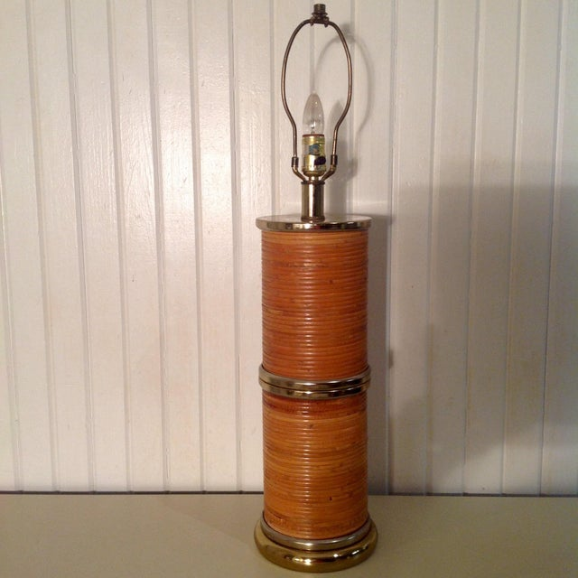 1960s Gabriella Crespi Style Pencil Bamboo Lamp For Sale - Image 4 of 4