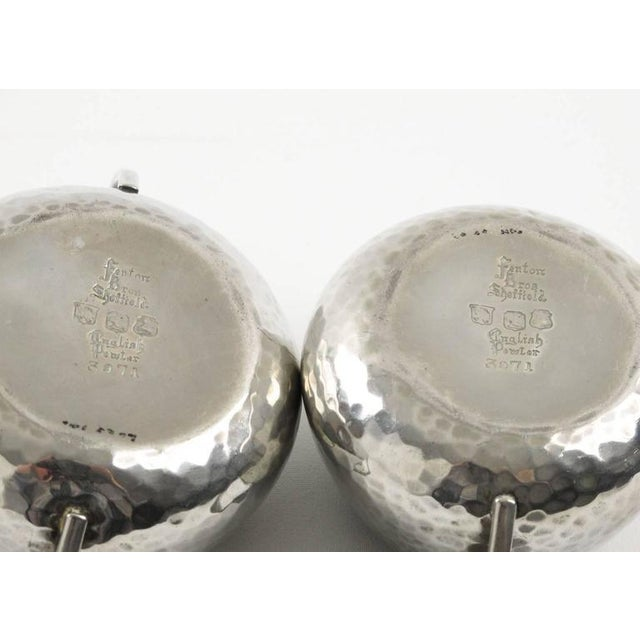 Silver Fenton Bros Ltd Sheffield England Art Nouveau Pewter Tea Coffee Serving Set For Sale - Image 8 of 11