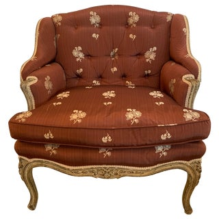 Gorgeous French Louis XV Club Chair Dressed Up in Rose Tarlow Fabric For Sale