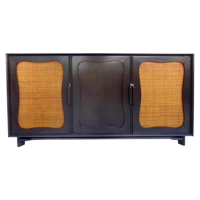 Lacquered 50's Credenza With Woven Cane Doors - Image 1 of 10