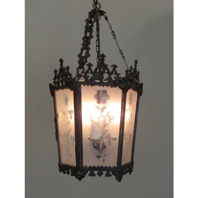 Mid-19th Century New Orleans Gothic Ebonized Brass Lantern For Sale - Image 4 of 7