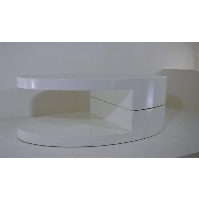 White Rotating Coffee Table in the Manner of Gabriella Crespi For Sale - Image 8 of 9