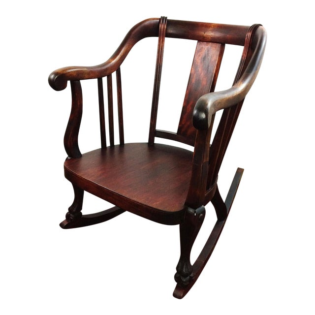 Antique Empire Barrel Back Claw Foot Mahogany Rocking Chair - Image 1 of 8