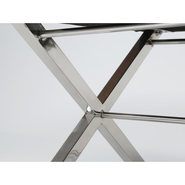 Modern Chrome Stool With Classic X-Style Frame For Sale In Chicago - Image 6 of 11