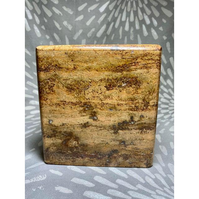 Handsome tissue box cover by Waterstone. Dark travertine slab, heavy stone.