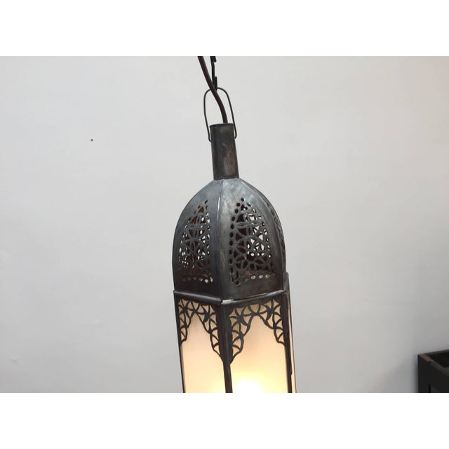 Brown Mid Century Handcrafted Moroccan Moorish Milky Glass Pendant Light For Sale - Image 8 of 13