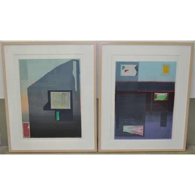 """Pair of lithographs by listed artist Robert Inman. """"California Series"""" and """"Osaka Series"""". Beautiful lithographs. In very..."""