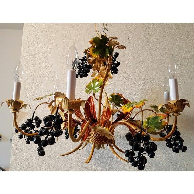 Grape vine tole chandelier chairish grape vine tole chandelier image 4 of 4 aloadofball Image collections