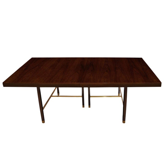 Rosewood and Brass Dining Table by Harvey Probber For Sale