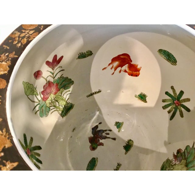 Asian Large Vintage Asian Porcelain Fish Bowl With Black and Copper Glaze For Sale - Image 3 of 6