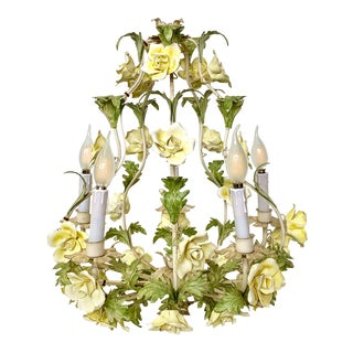 1940s Italian Porcelain Floral Vintage Toile Chandelier For Sale