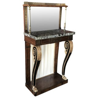 19th Century Regancy Inlaid Marble Top Console Table For Sale