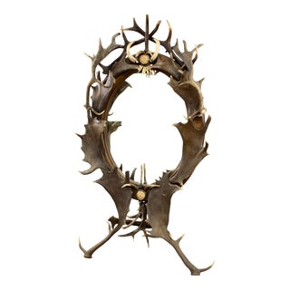 Antler Standing Mirror, Germany Ca. 1890 For Sale