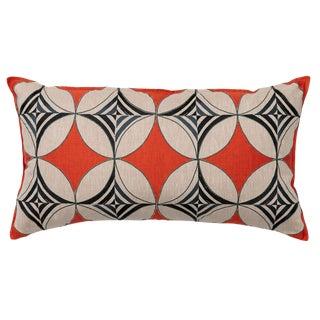 Contemporary Ring Appliqué Vermilion Pillow For Sale