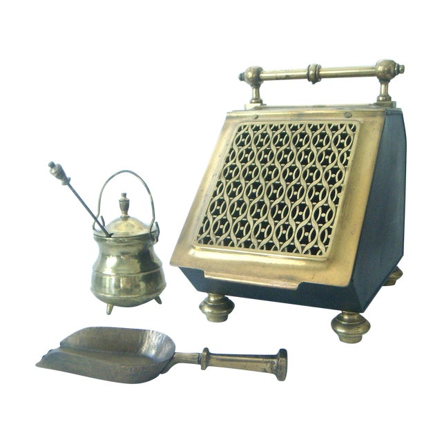 Vintage Brass Coal Scuttle & Pumice Fireplace Lighting Set - Image 1 of 8
