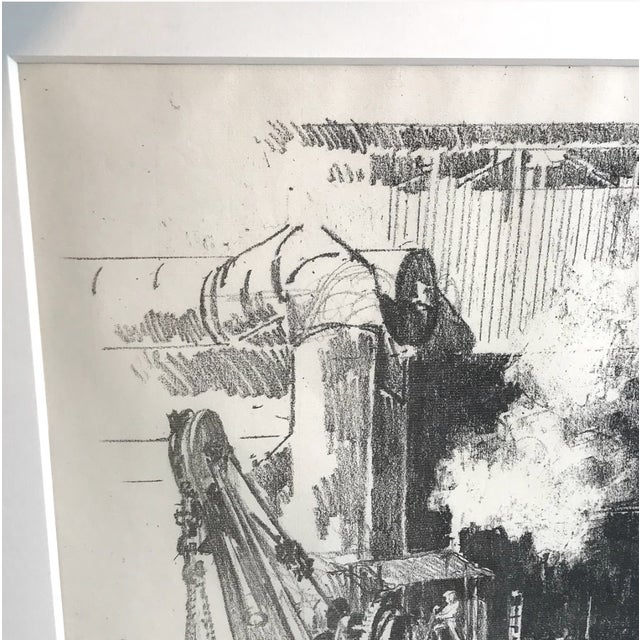 Beautiful stone linen paper pencil drawing signed in pencil at the bottom of the art work. Framed in silver gilt frame.