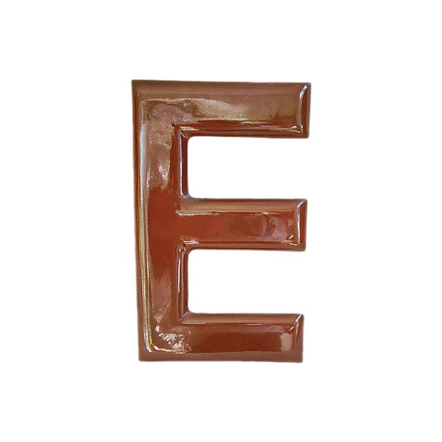 1950s Chocolate Brown Porcelain Letter E - Image 1 of 5