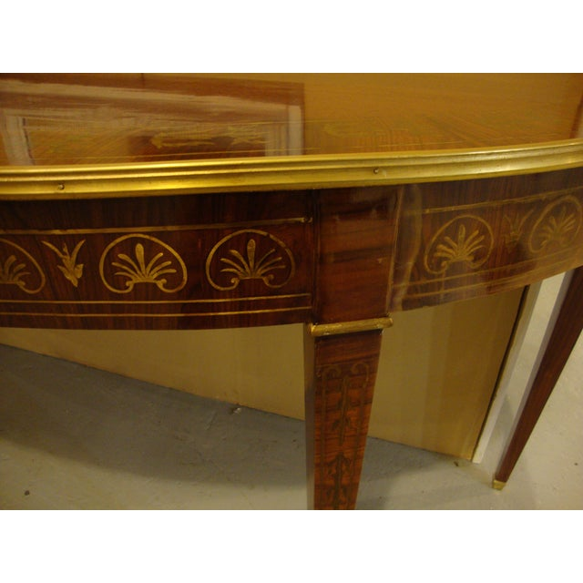 Boule Inlaid Demilune Console Tables - A Pair For Sale - Image 4 of 11