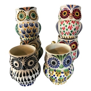 Gorky Gonzalez Mexican Pottery Owl Mugs - Set of 6 For Sale